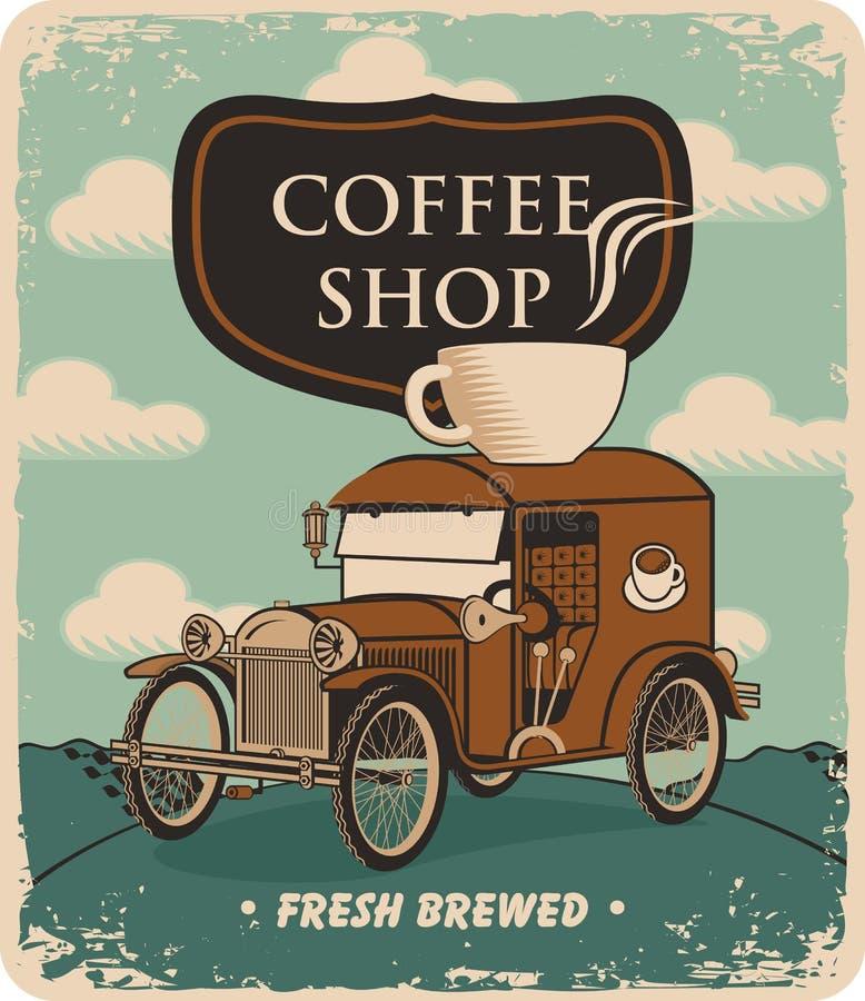 Auto und Tasse Kaffee auf Dach lizenzfreie abbildung