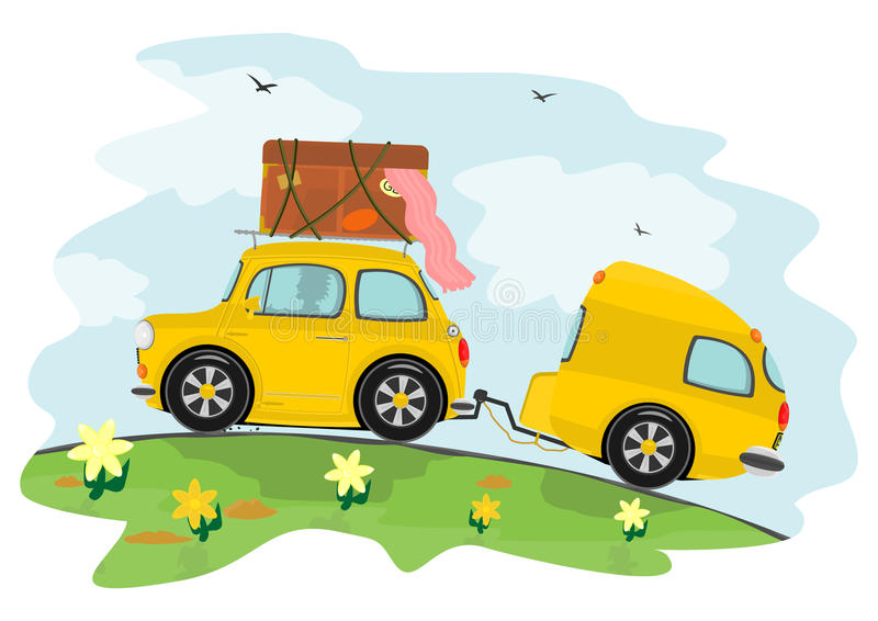Auto und Wohnwagen lizenzfreie abbildung
