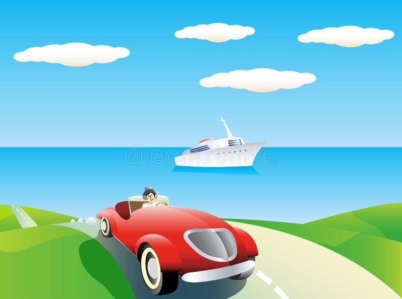 Auto- und Yachthintergrund. stock abbildung