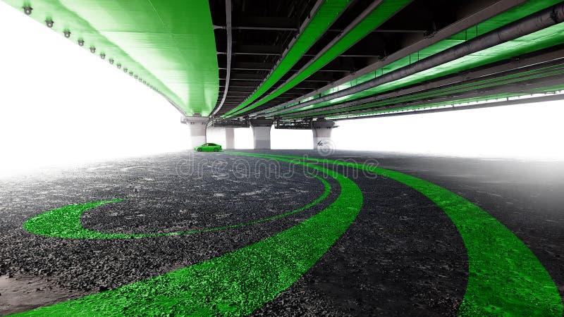 Auto unter der Brücke lizenzfreie stockfotografie