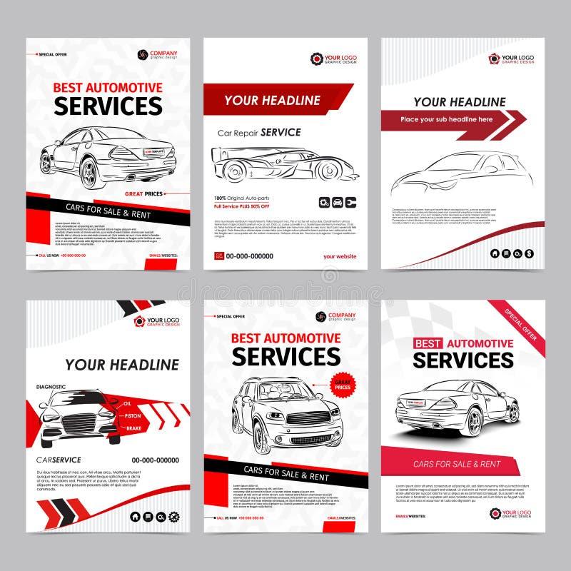Auto van de bedrijfs reparatiediensten geplaatste lay-outmalplaatjes, automobiele tijdschriftdekking, autoreparatiewerkplaatsbroc royalty-vrije illustratie