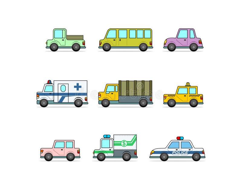 Auto. vector illustration. Various auto on a white background stock illustration