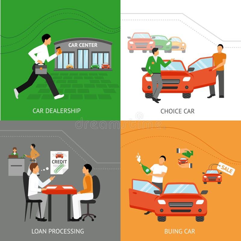 Auto-Vertragshändler-Konzept des Entwurfes lizenzfreie abbildung