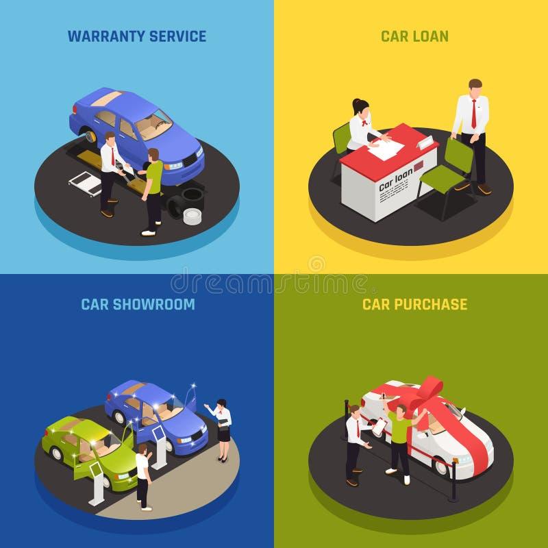 Auto-Vertragshändler-Konzept-Ikonen-Satz stock abbildung