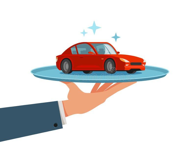 Auto, voertuig op dienblad Het handel drijven, handelaar, vervoerconcept De vectorillustratie van het beeldverhaal royalty-vrije illustratie