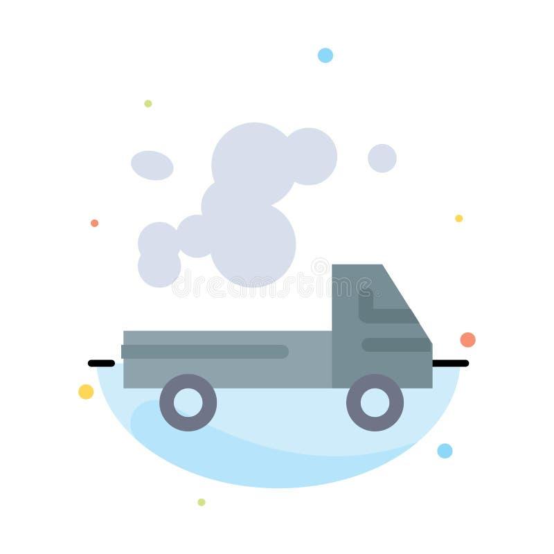 Auto, Vrachtwagen, Emissie, Gas, het Pictogrammalplaatje van de Verontreinigings Abstract Vlak Kleur royalty-vrije illustratie