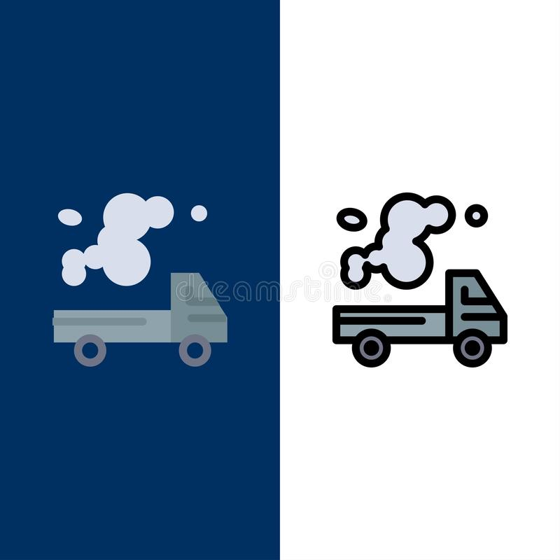 Auto, Vrachtwagen, Emissie, Gas, Verontreinigingspictogrammen Vlak en Lijn vulde Pictogram Vastgestelde Vector Blauwe Achtergrond stock illustratie