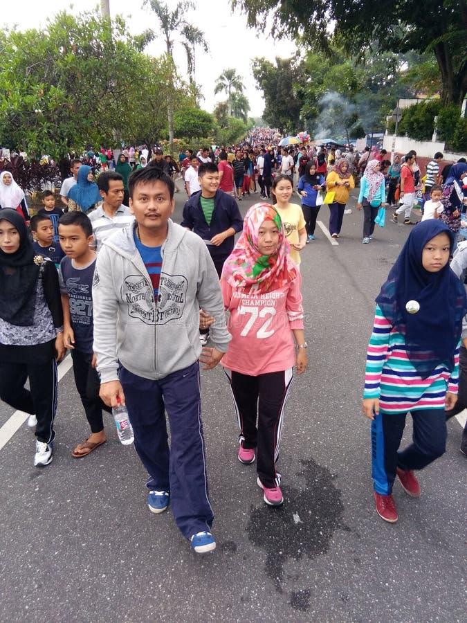 Auto Vrije Dag Pekanbaru Riau stock afbeeldingen