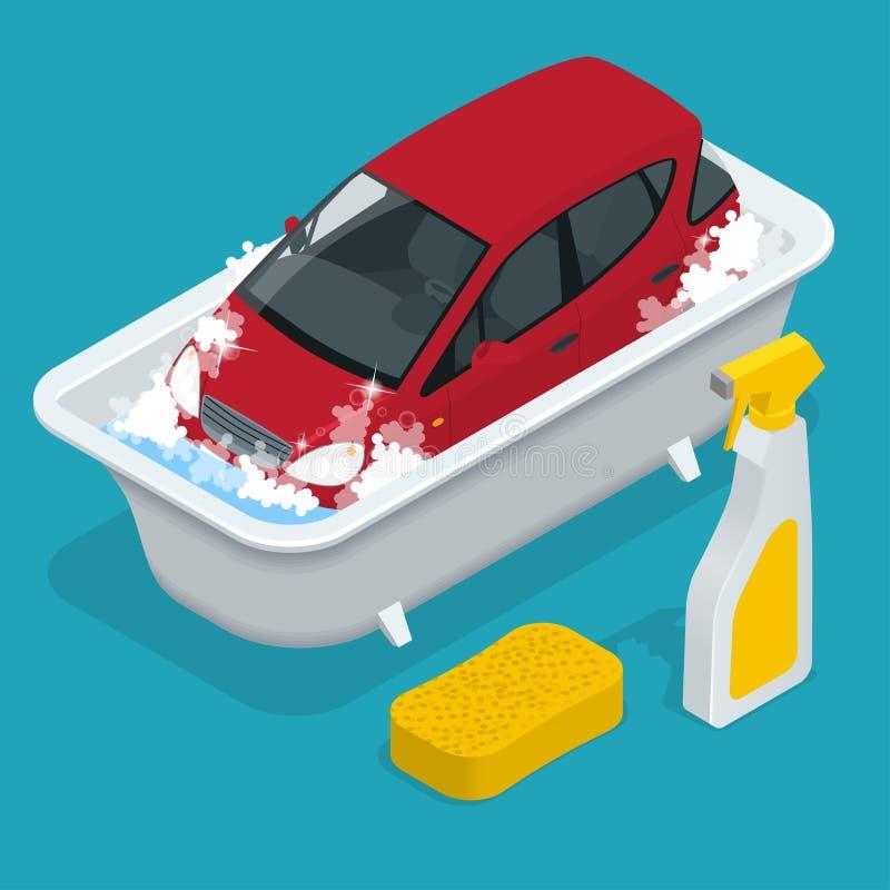 Auto washing De dienst van de autowasserette Auto met Autowasseretteteken Vlakke 3d isometrische vectorillustratie vector illustratie