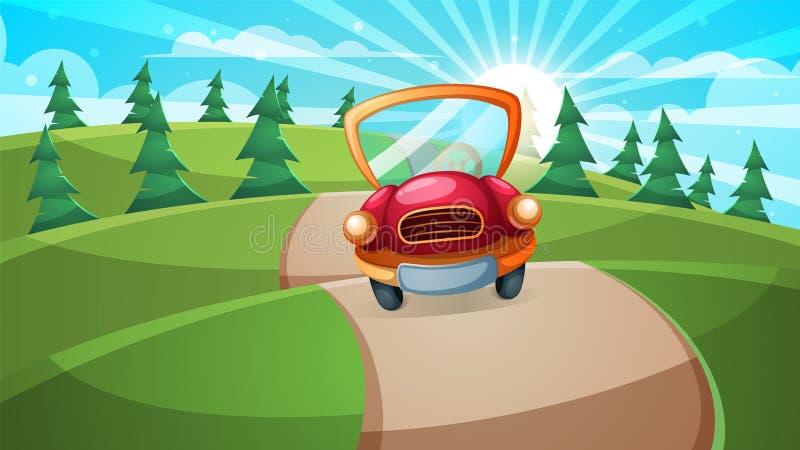 Auto, wegillustratie Beeldverhaal boslandschap vector illustratie
