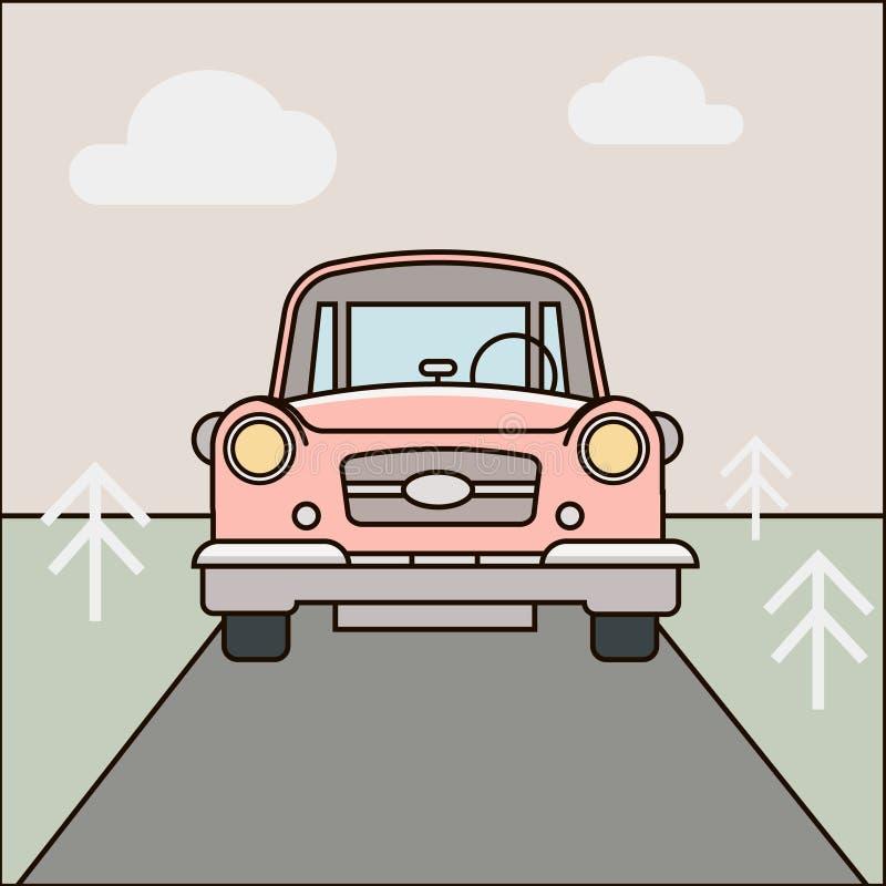 Auto, wegillustratie Beeldverhaal boslandschap Vectoreps 10 stock illustratie