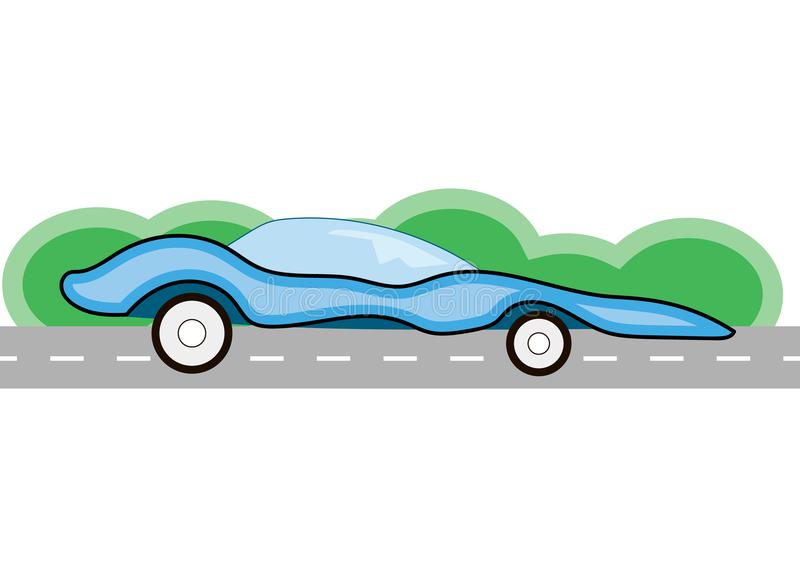 Auto, welches die Straße auf einem grünen Hintergrund weitergeht lizenzfreies stockfoto