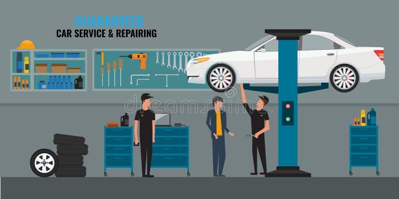 Auto-Werkstatt-Innenraum mit den Mechanikern oder Meistern, die Autos, Konzept der freiberuflichen Dienstleistung und die Unterha vektor abbildung