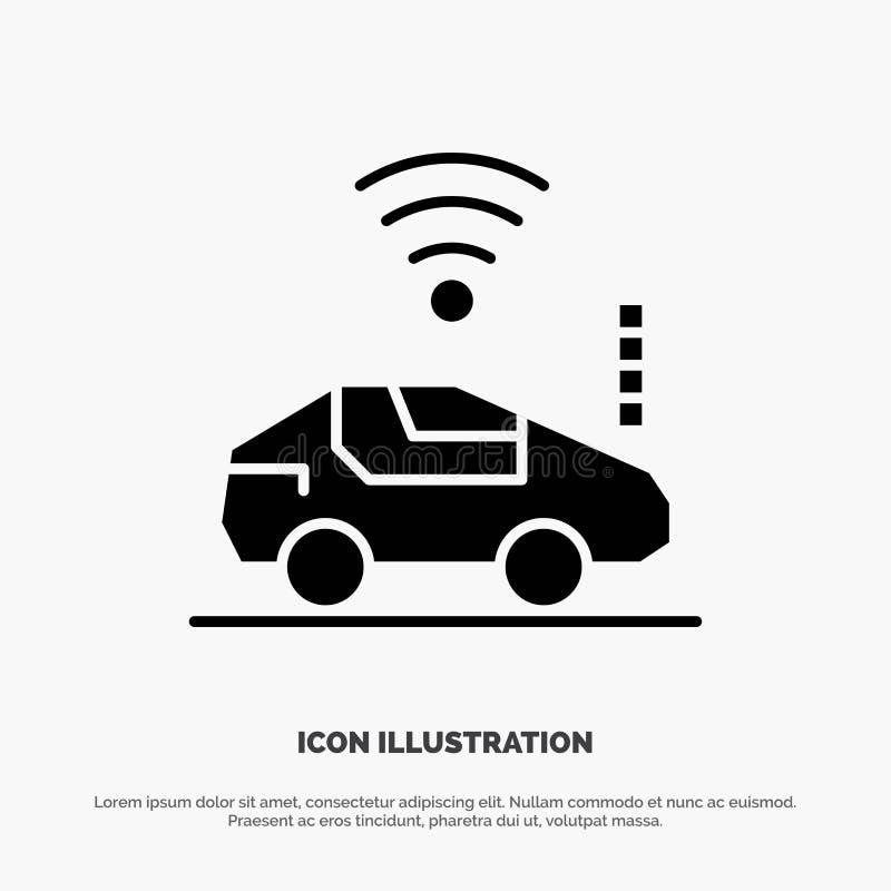 Auto, Auto, Wifi, Signal fester Glyph-Ikonenvektor lizenzfreie abbildung