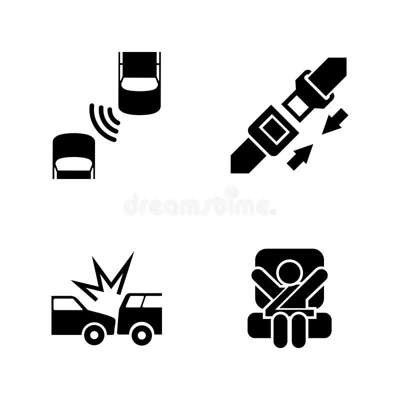 Auto zbawczy pasek Proste Powiązane Wektorowe ikony ilustracja wektor