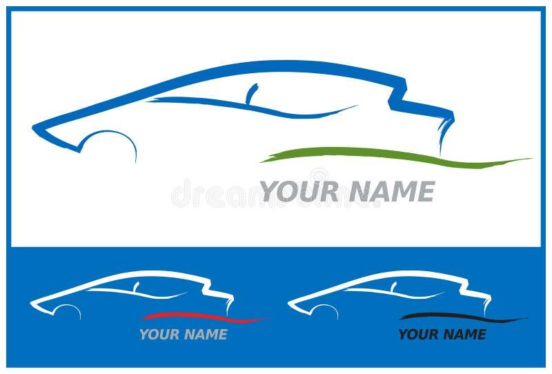 Auto-Zeichen im Blau und im Grün vektor abbildung