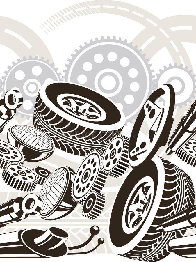 Auto zerteilt nahtloses Muster vektor abbildung