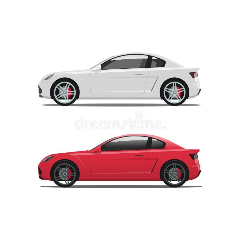 Auto zijaanzicht, auto vector, witte rode auto'spictogrammen, auto's royalty-vrije illustratie