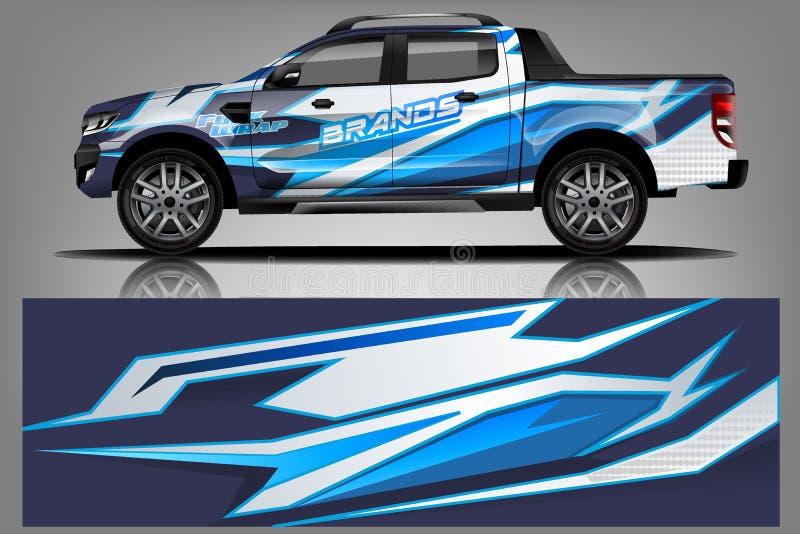 Autoabziehbildverpackungs-Entwurfsvektor Hintergrund-Ausrüstungsentwürfe des grafischen abstrakten Streifens laufende für Fahrzeu lizenzfreie abbildung