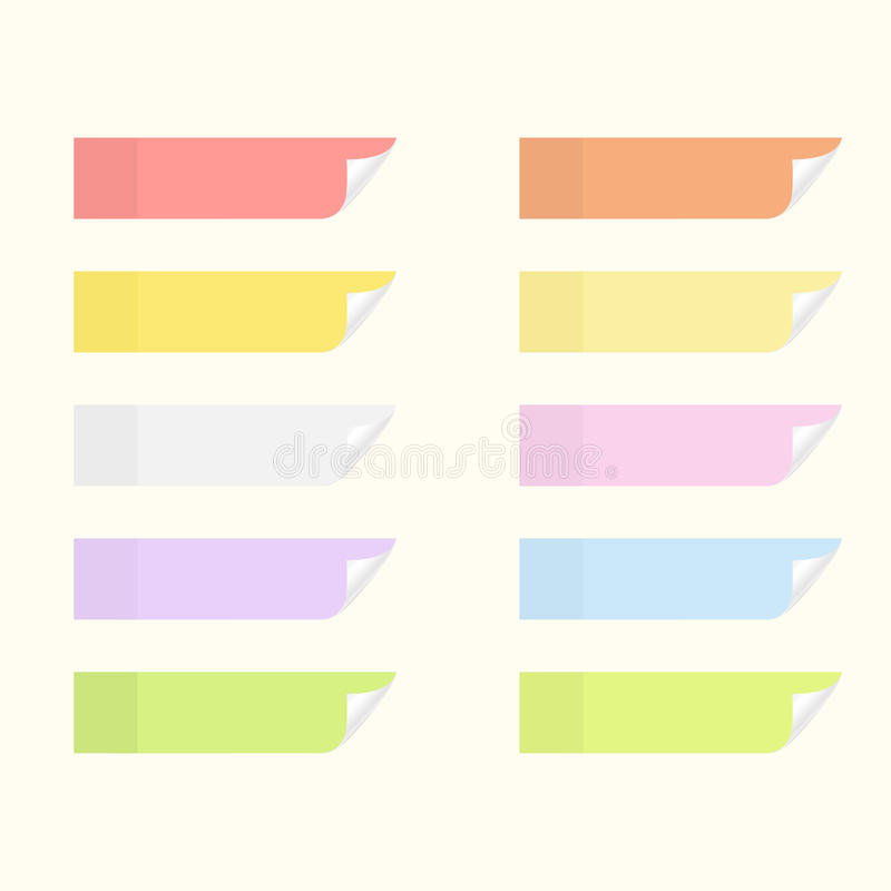 Autoadesivi appiccicosi con i bordi di vibrazione Insieme degli strati della carta dell'avviso illustrazione di stock