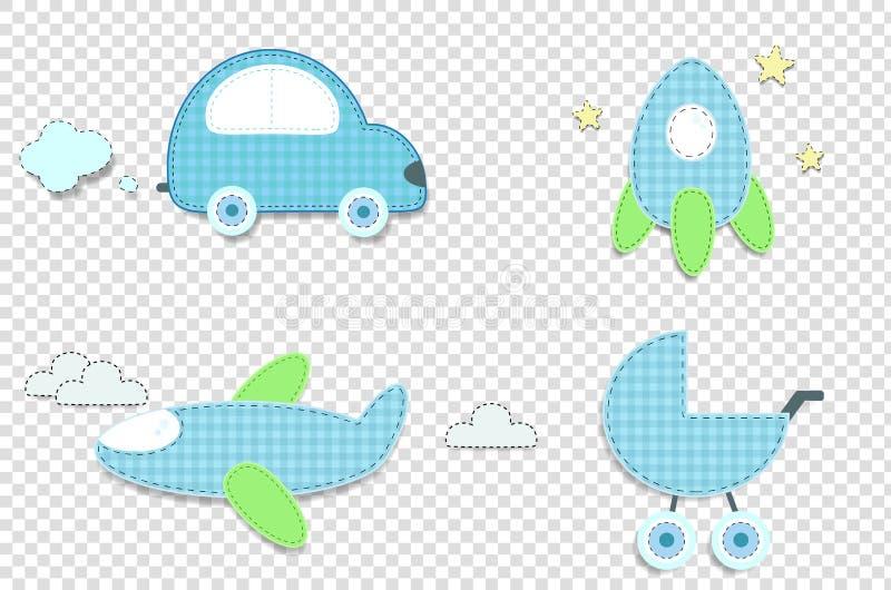 Autoadesivi blu del plaid della carta o del tessuto dell'automobile, razzo, passeggiatore, aeroplano illustrazione di stock