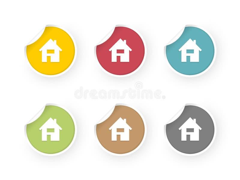 Autoadesivi colorati icone domestiche messi royalty illustrazione gratis
