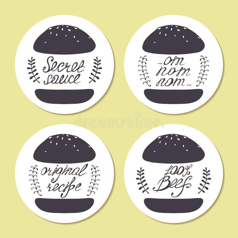 Autoadesivi con gli hamburger estratti a mano libera ed iscrizione della mano nel vettore Illustrazione stilizzata degli alimenti illustrazione vettoriale