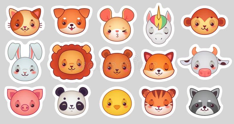 Autoadesivi del fronte degli animali Fronti animali svegli, autoadesivo di emoji di kawaii o avatar divertente Insieme dell'illus illustrazione di stock
