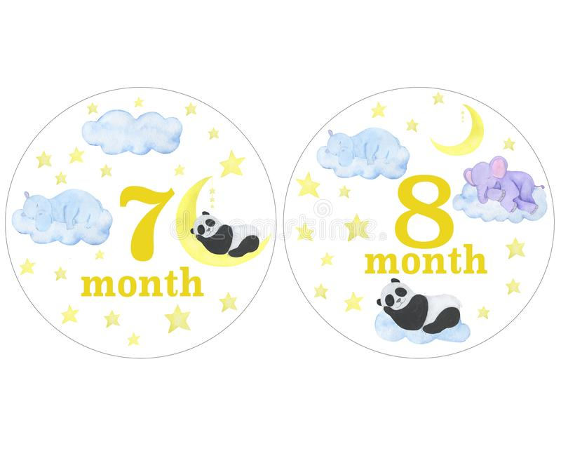 Autoadesivi del neonato per gli autoadesivi di progettazione di sessione di foto delle illustrazioni dell'acquerello di mesi che  illustrazione di stock