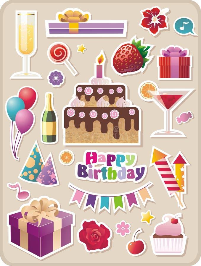 Autoadesivi del partito e di compleanno illustrazione vettoriale