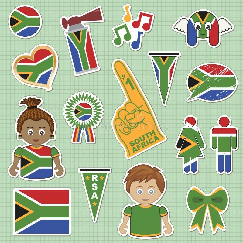 Autoadesivi del sostenitore della Sudafrica illustrazione vettoriale