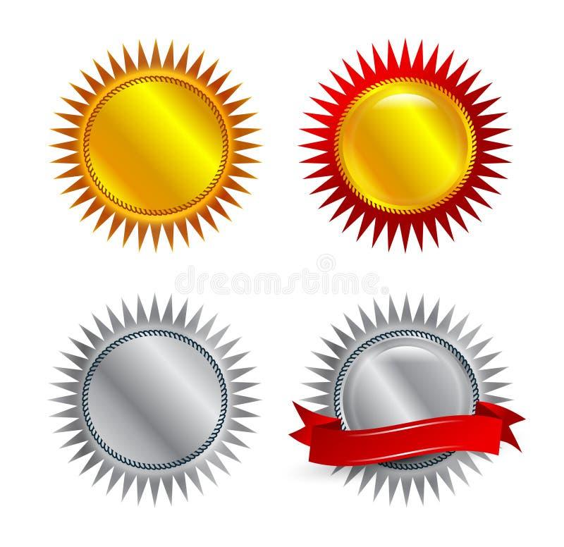 Autoadesivi dell'argento e dell'oro illustrazione vettoriale