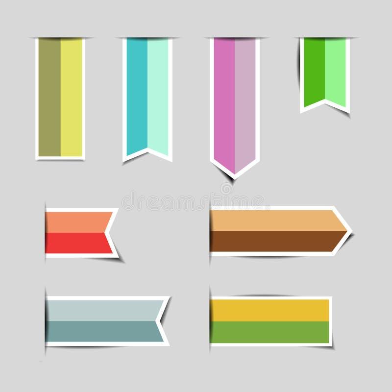Autoadesivi della carta dell'insegna del nastro con le ombre illustrazione vettoriale