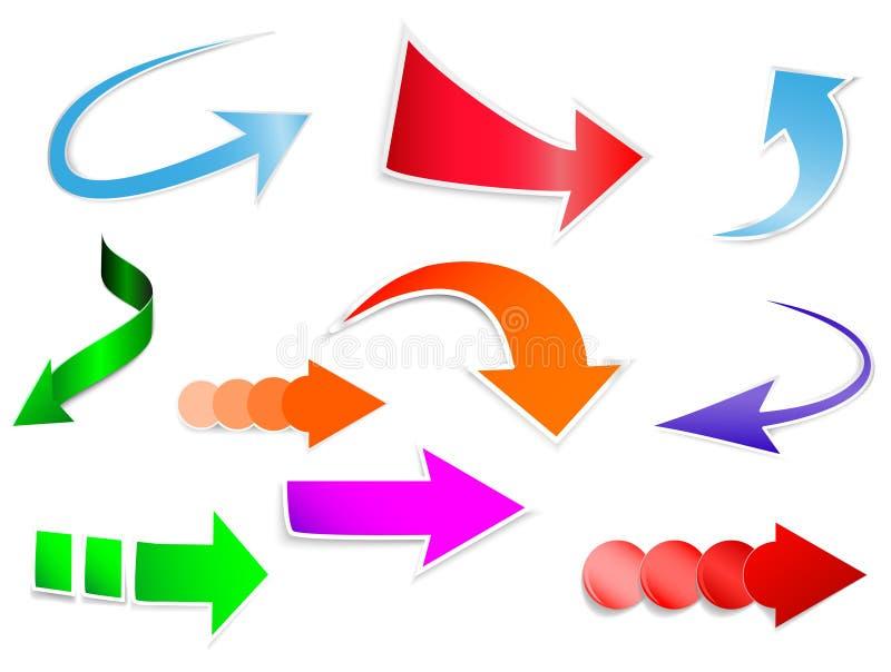 Autoadesivi delle frecce messi illustrazione di stock