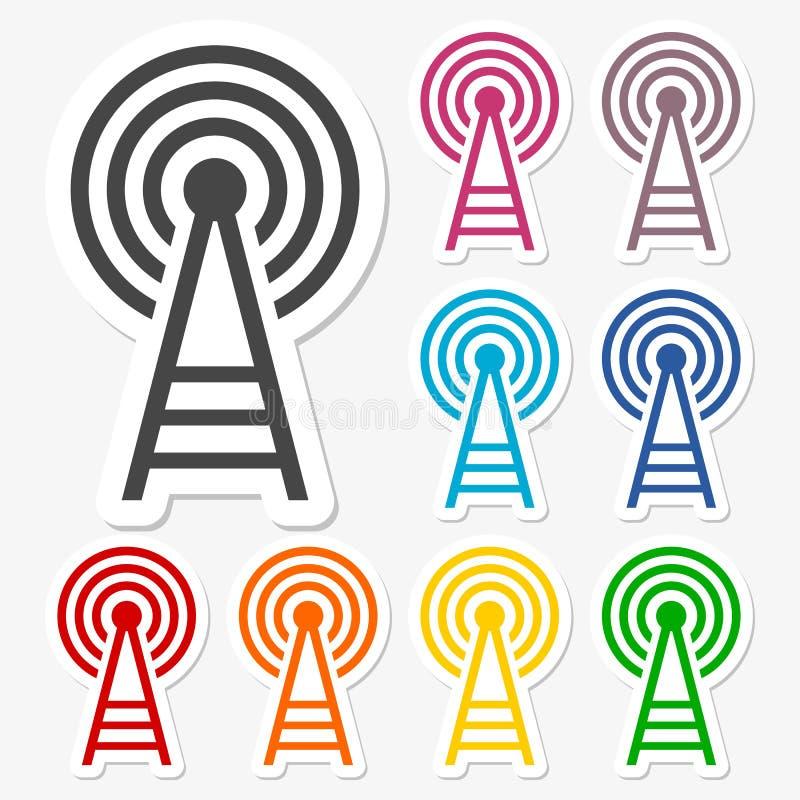 Autoadesivi delle icone della torre del trasmettitore messi royalty illustrazione gratis