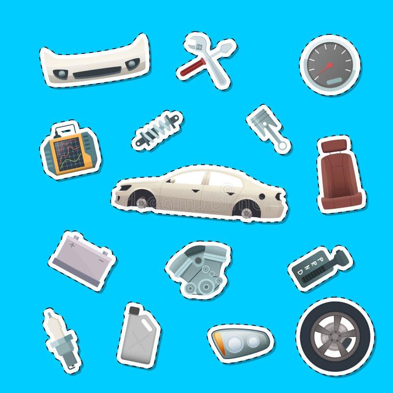 Autoadesivi delle parti dell'automobile di vettore dell'illustrazione stabilita royalty illustrazione gratis