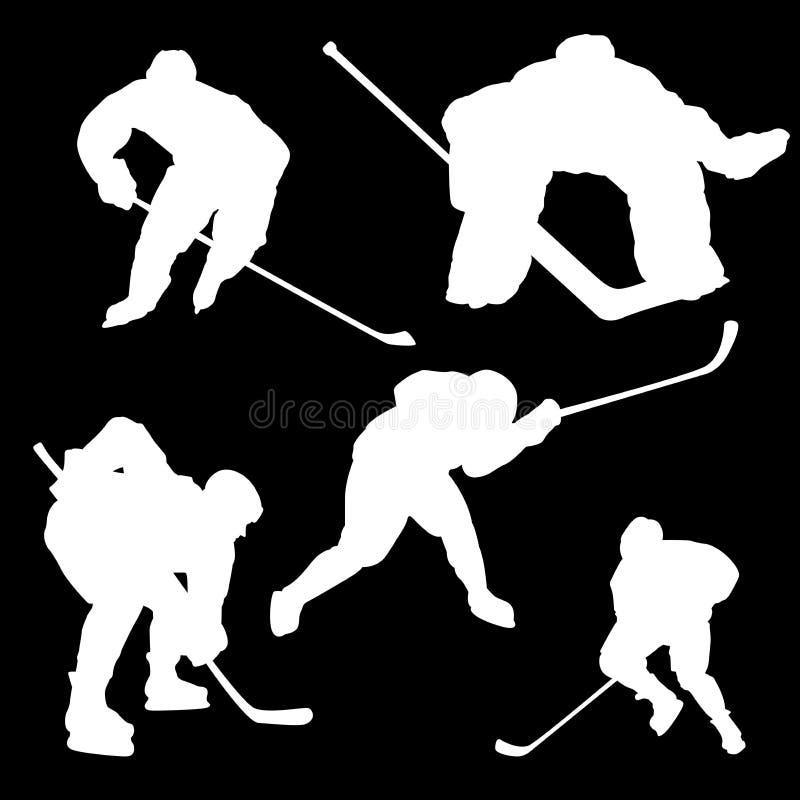 Autoadesivi delle siluette dei giocatori di hockey royalty illustrazione gratis
