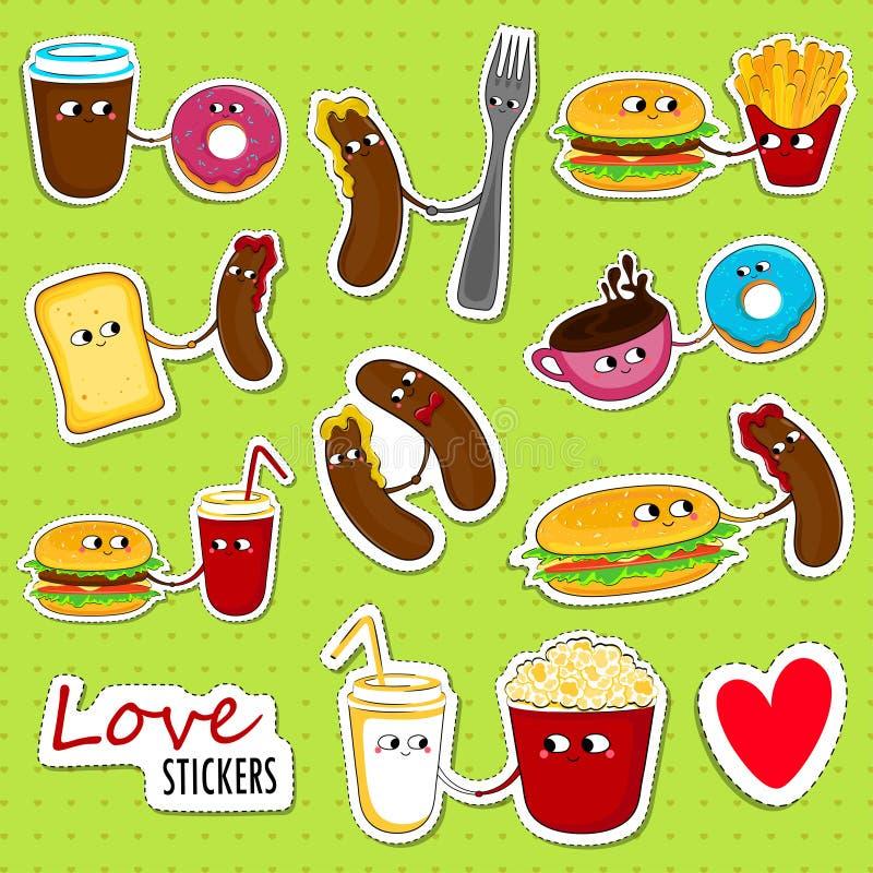 Autoadesivi di amore degli alimenti a rapida preparazione illustrazione di stock