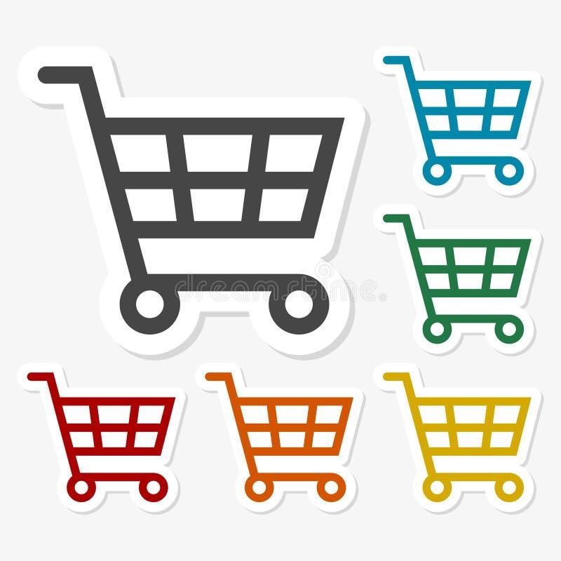 Autoadesivi di carta multicolori - icona di acquisto illustrazione di stock