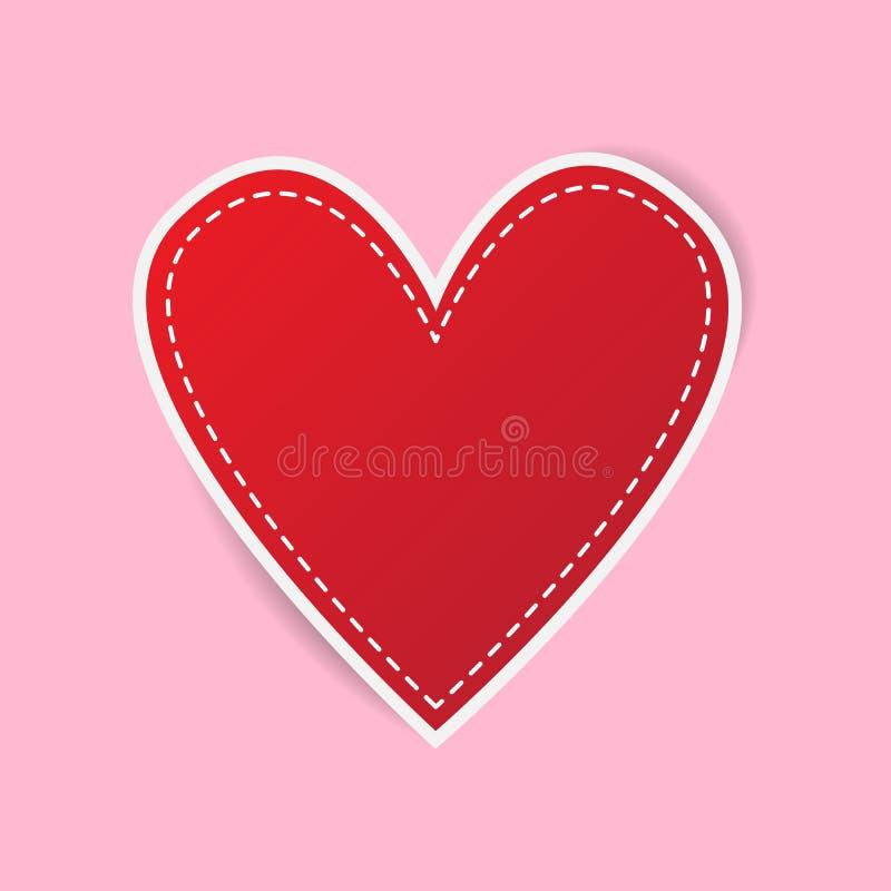 Autoadesivi di cuore rosso, San Valentino illustrazione di stock