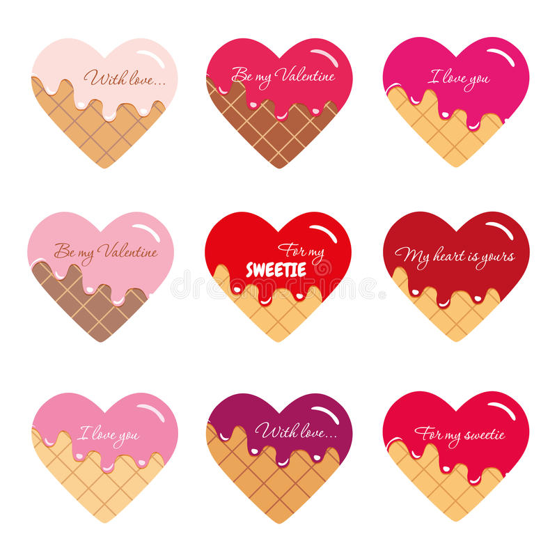 Autoadesivi di giorno del biglietto di S. Valentino s Cuori del fumetto con il testo del campione Colori luminosi e pastelli royalty illustrazione gratis