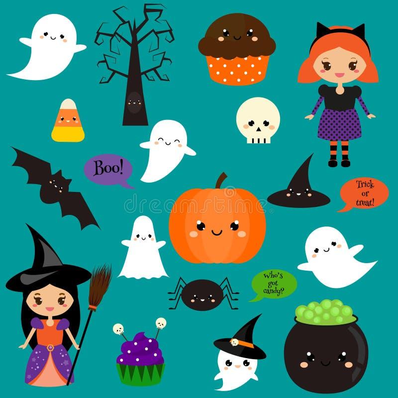 Autoadesivi di Halloween, toppe, distintivi Zucca sveglia, fantasmi, bambini ed altri simboli di festa nello stile di kawaii illustrazione vettoriale