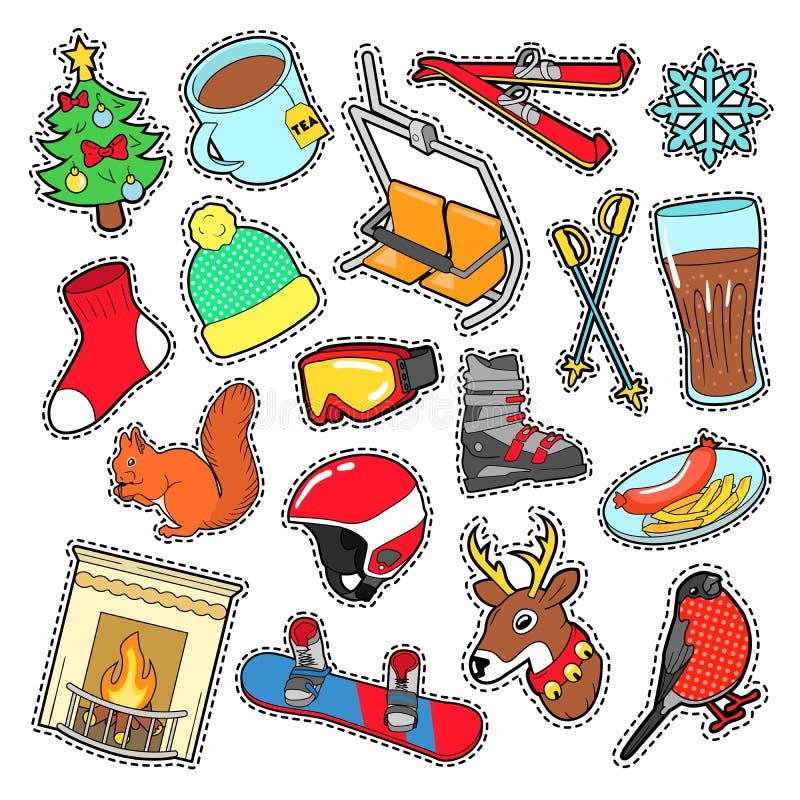 Autoadesivi di inverno, distintivi, decorazione delle toppe messa con neve, vestiti caldi illustrazione di stock