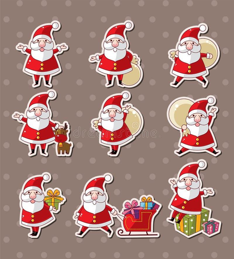 Autoadesivi di natale del Babbo Natale del fumetto illustrazione vettoriale