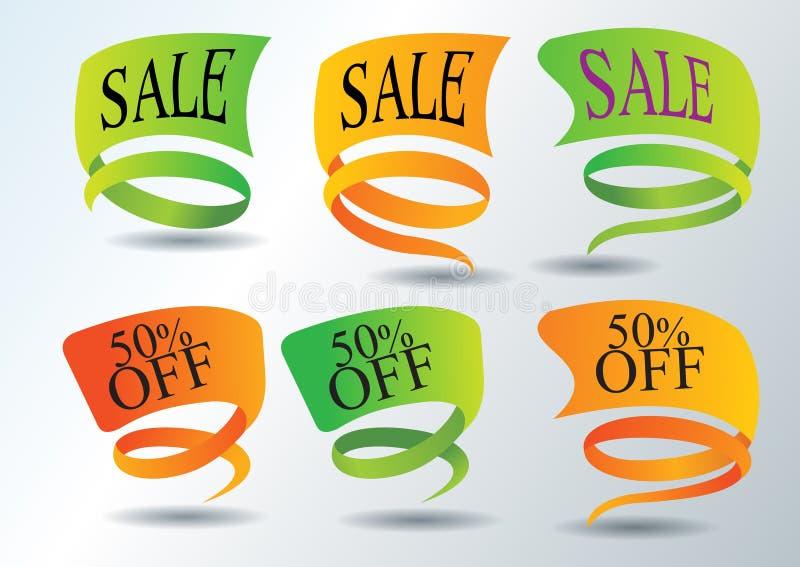 Autoadesivi di promozione di vendite ed icone di Web royalty illustrazione gratis