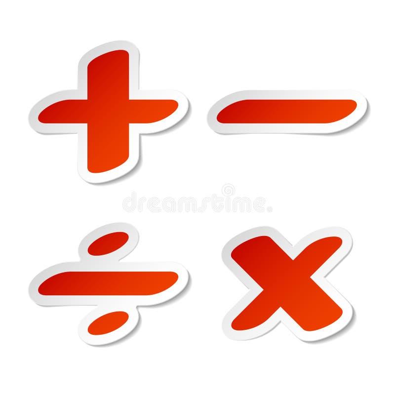 Autoadesivi di simboli di per la matematica illustrazione di stock
