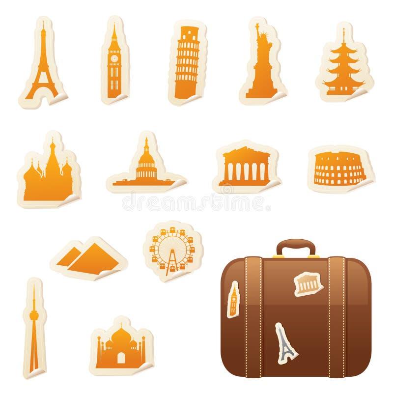 Autoadesivi di viaggio royalty illustrazione gratis