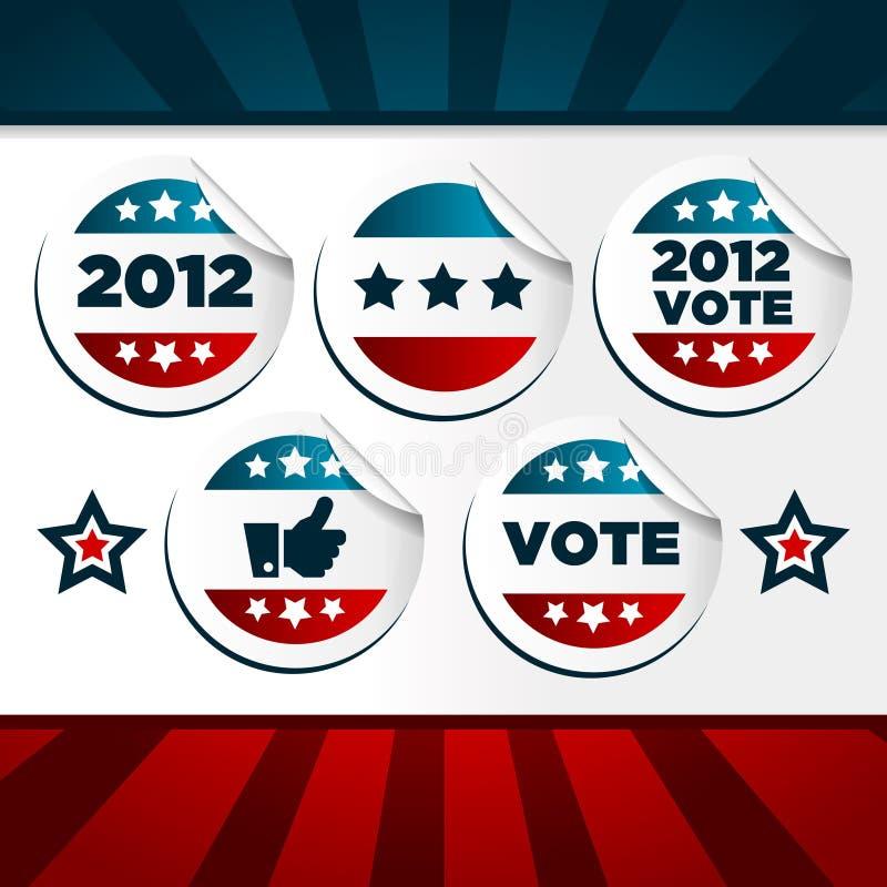 Autoadesivi di voto patriottici illustrazione vettoriale