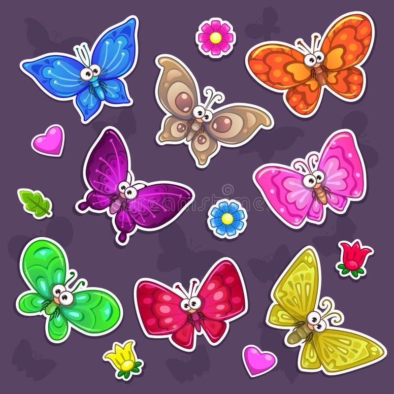 Autoadesivi divertenti delle farfalle del fumetto messi illustrazione vettoriale