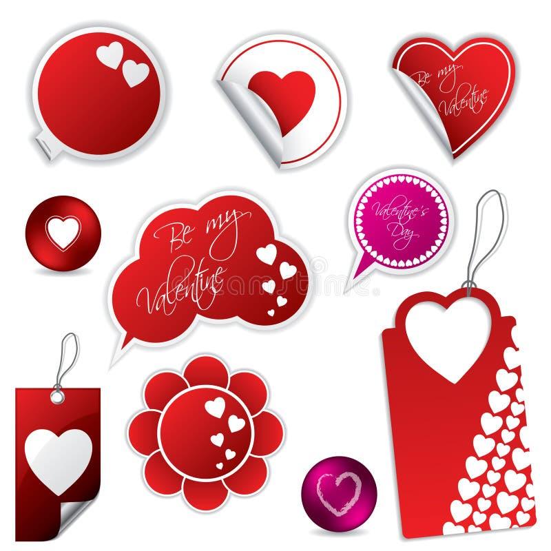 Autoadesivi e contrassegni di giorno del biglietto di S. Valentino illustrazione di stock